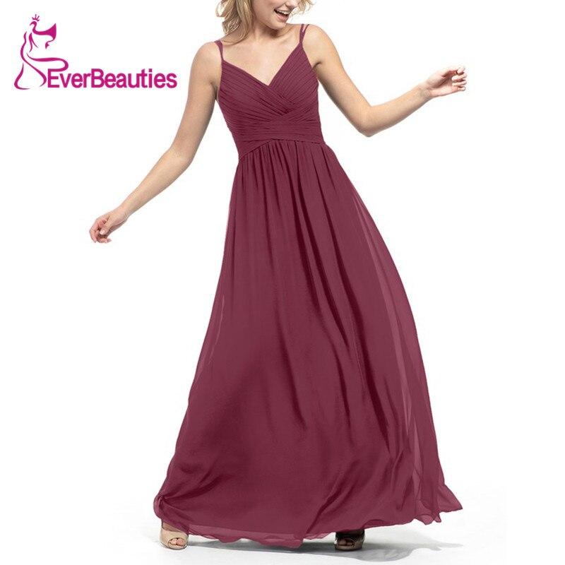 Bridesmaid     Dresses   Chiffon Vestidos De Boda Invitada Elegant 2019 Party   Dress   Graceful Spaghetti Strap Robe Demoiselle D'honneur