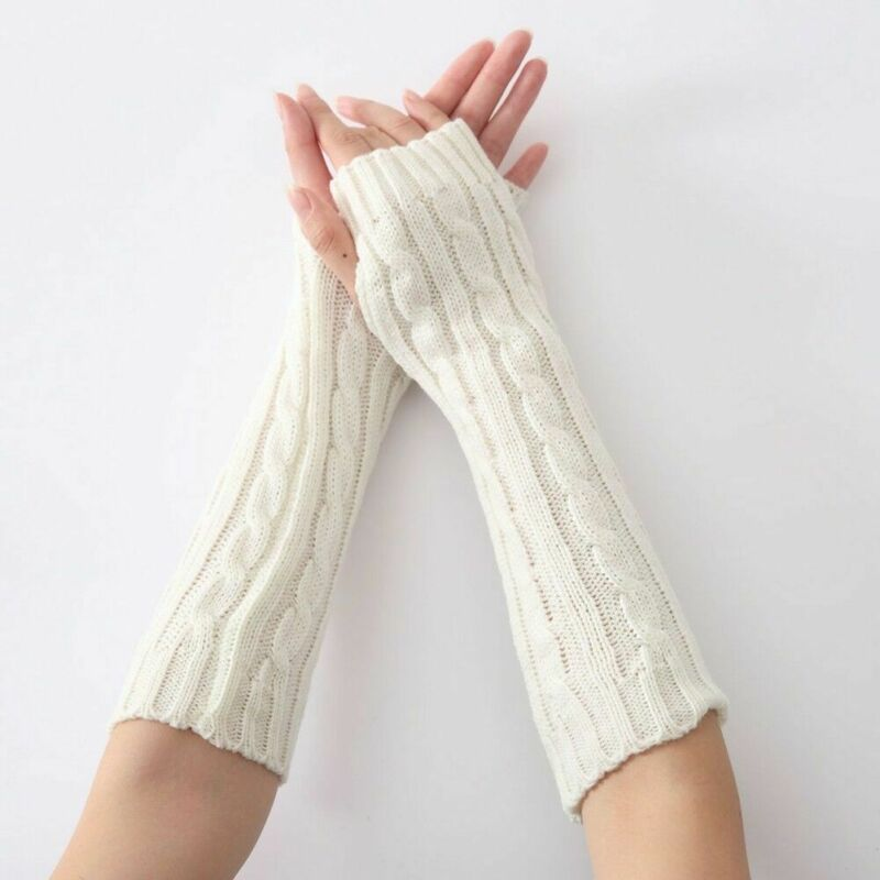 1 Pair Soft Elastic Wrist Hands Warm Knitted Women Mittens Winter Long Fingerless Arm Warmers Black Gray Coffee Free Shipping