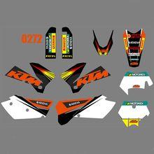 Volle Grafiken Decals Aufkleber Kit Custom Nummer Name Glänzend Aufkleber Für KTM 125 200 250 300 400 450 525 540 EXC 2005 2006 2007