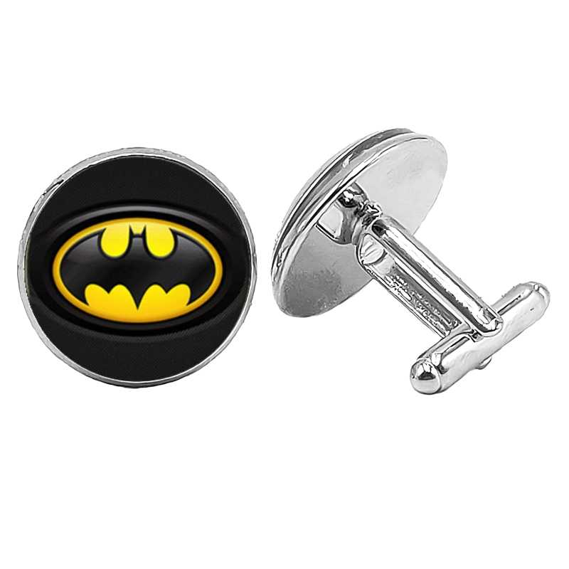 2019 nouveau bijoux boutons de manchette Batman motif créatif temps verre convexe hommes boutons de manchette cadeau haute qualité français chemise manches ongles