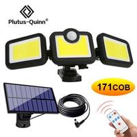 138 171 192 LED a luce solare per esterni a 3 teste sensore di movimento illuminazione grandangolare lampada da parete solare impermeabile luci da Garage da giardino