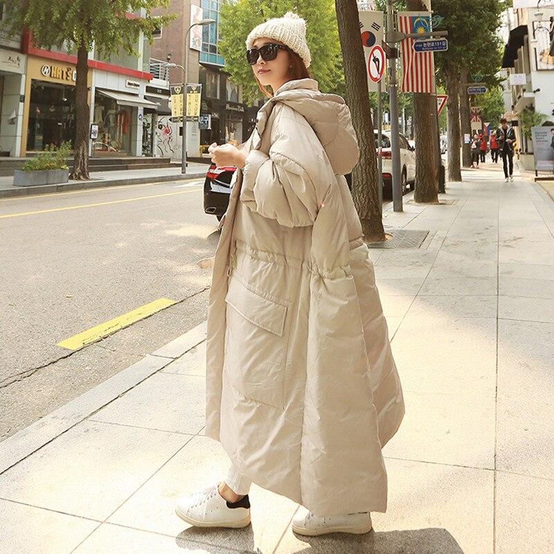 LANMREM 2019 الشتاء جديد أزياء المرأة فضفاضة زائد عارضة الركبة سمكا مقنعين أسفل سترة TC213-في سترات فرائية مقلنسة من ملابس نسائية على  مجموعة 1
