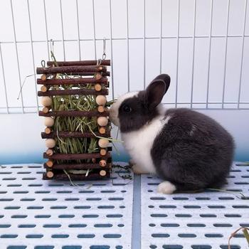 Wooden Hay Manger Grass Frame Pet Toy Trough Feeder for Rabbits Chinchilla Hamster Guinea Pigs