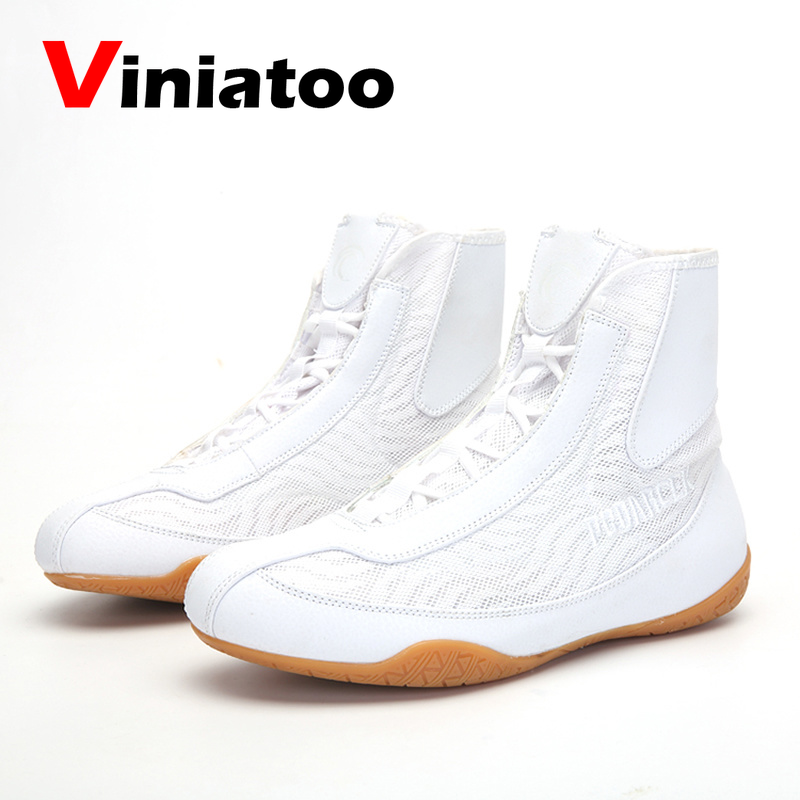 New White Black Wrestling Shoes Men Light Weight Boxing Sneakers Outdoor Breathable Boxing Shoes Quality Flighting Sneakers