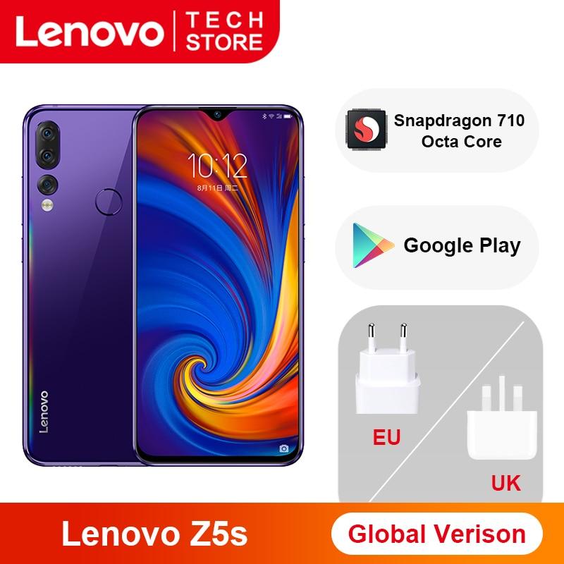 Global Version Lenovo Z5s Snapdragon 710 Octa Core 64GB 128GB Smartphone 6.3 Inch AI Triple Rear Camera Android P Cellphone