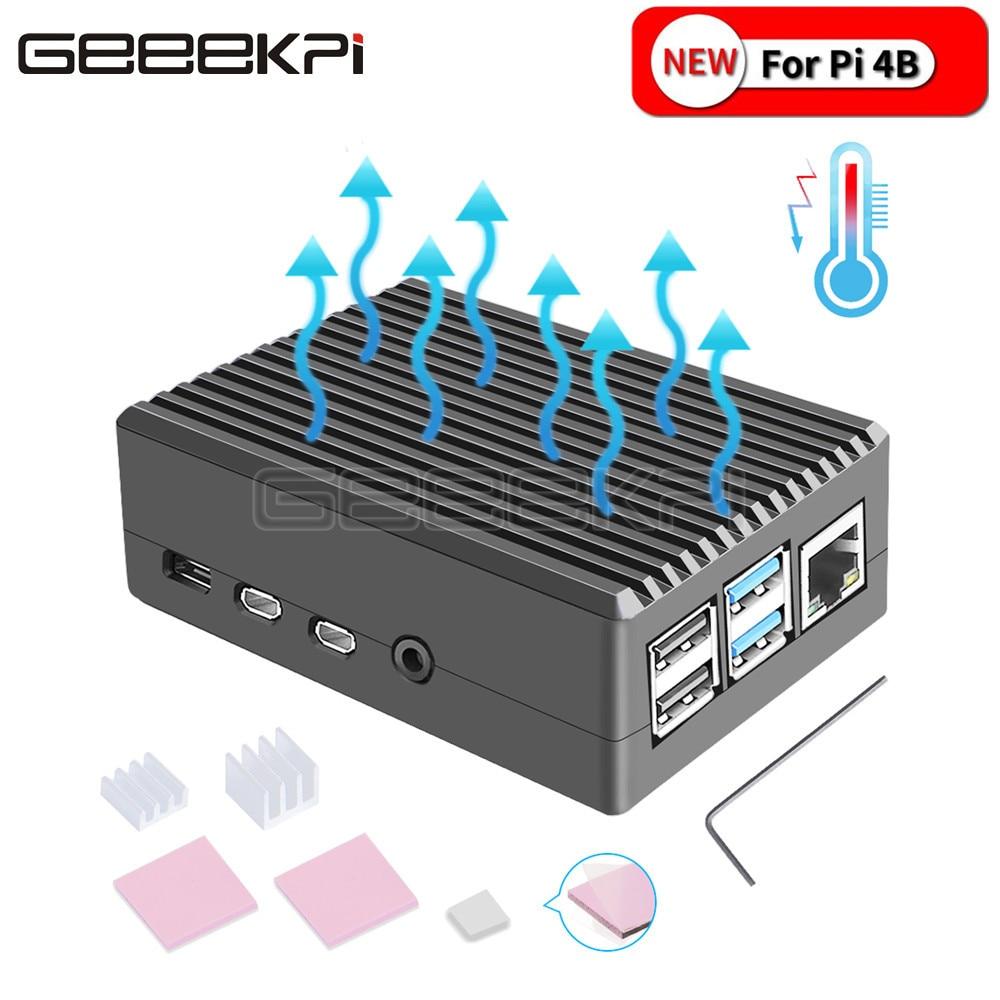 GeeekPi Black / Dark Gray Metal Case Enclosure Cover Shell With Heat Sinks For Raspberry Pi 4B Pi 4 Model B