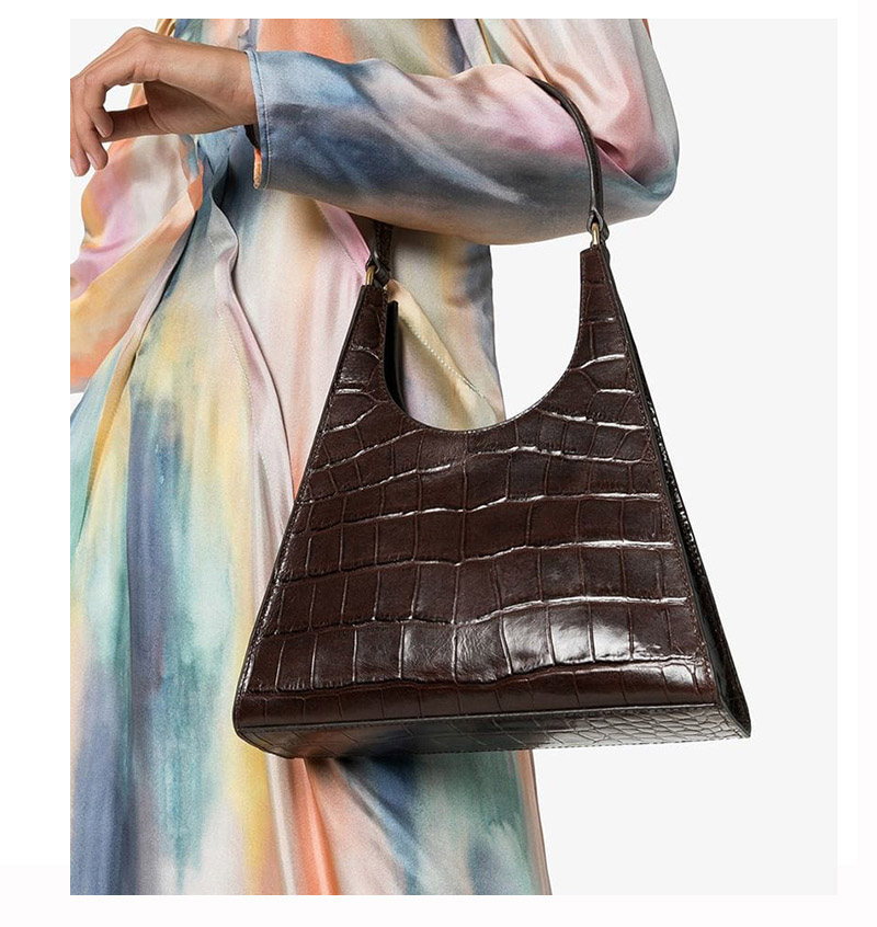 Women Handbag Retro Alligator Subaxillary Bag Vintage Small Triangle Baguette Bags For Women 2019 Crocodile Shoulder Bag Bolsas