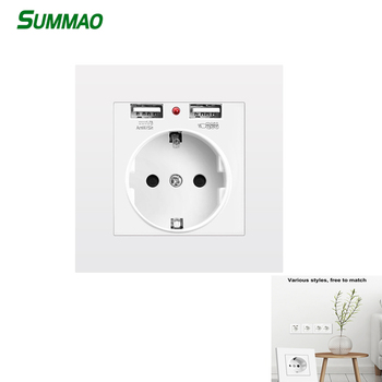 16A 250V EU Standard Socket BOX Electrical Outlet with USB Ports Charger Wall Power Adapter Room Hotel Sockets 86*86mm PC Panel 3 colors smart home best dual usb port 2000ma wall charger adapter 16a eu standard electrical plug socket power outlet panel