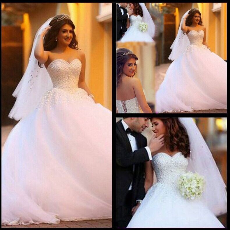 Sweetheart Beaded Wedding Dress 2016 Fashionable White Ball Gown Back Lace Up New Wedding Party Vestido De Noiva