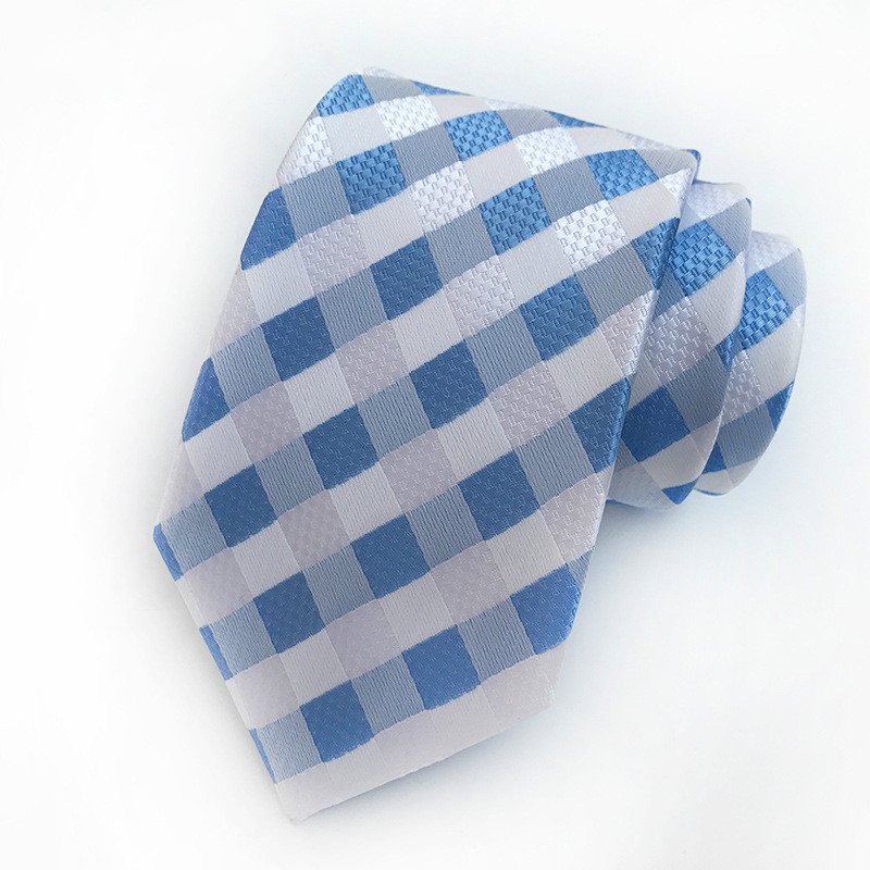Mans Tie Gentleman Necktie Bright Breezy Gingham Handmade Silk Mens Woven Wedding Party Necktie Men Gift Formal Dress Ties