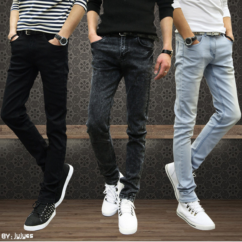 2019 Autumn New Style MEN'S Jeans Men'S Wear Korean-style Slim Fit Straight-Cut Skinny Pants Men's Trousers Elasticity Long Pant