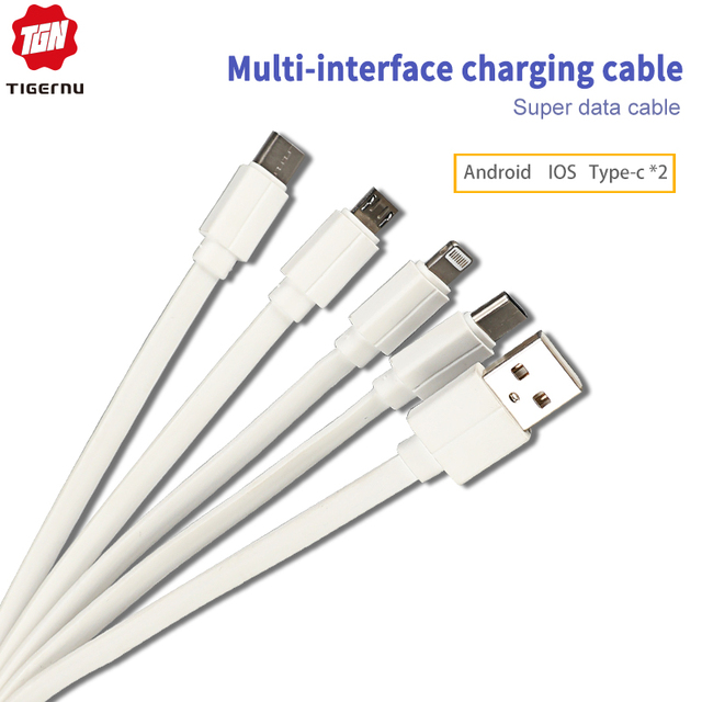 Tigernu 2019 New 4.0A USB Cable 3 In 1 Quick Charge IOS/ Type-C/ Android Super Data Cable Faster Than Normal 1