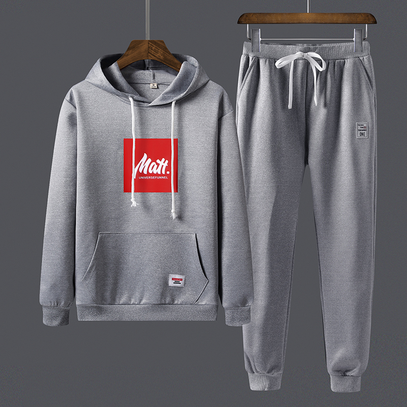 Spring Autumn Men Sports Suit Mens Sweatshirt 2 Pieces Set Tracksuit Jogger Letter Print Hooded Hoodies + Sweat Pants Track Suit