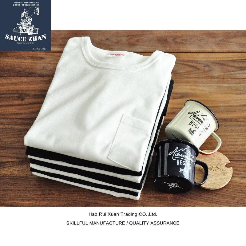 SauceZhan Tops & Tees Men's T-shirt Short Sleeve Pocket T Shirt  Anti Deformation 100% Cotton Soft Shrink Proof Water Durable