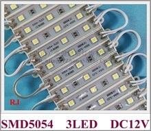 סופר מואר SMD 5054 LED מודול LED פרסום אור מודול לסימן DC12V 3led 3*0.5W 1.5W עמיד למים 75(L)* 12(W)* 6(H) CE