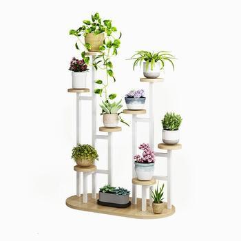 Balkon Etagere para planta de madera Saksi Standi, maceta para interior, estantería...