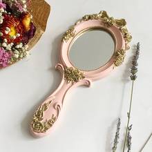 1 unidad rectangular de mano espejo cosmético con mango espejo de maquillaje lindo creativo de madera Vintage espejos de mano maquillaje espejo de tocador