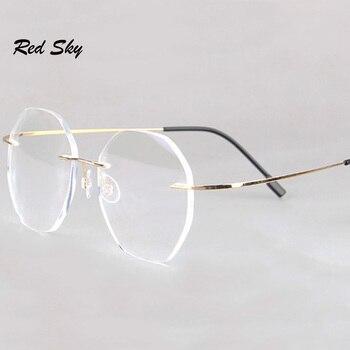 цена на Anti-Blue Rimless Reading Glasses Men Women Round Frameless Magnifying Eyeglasses Prescription Myopia Presbyopia Glass+1.50+2.00