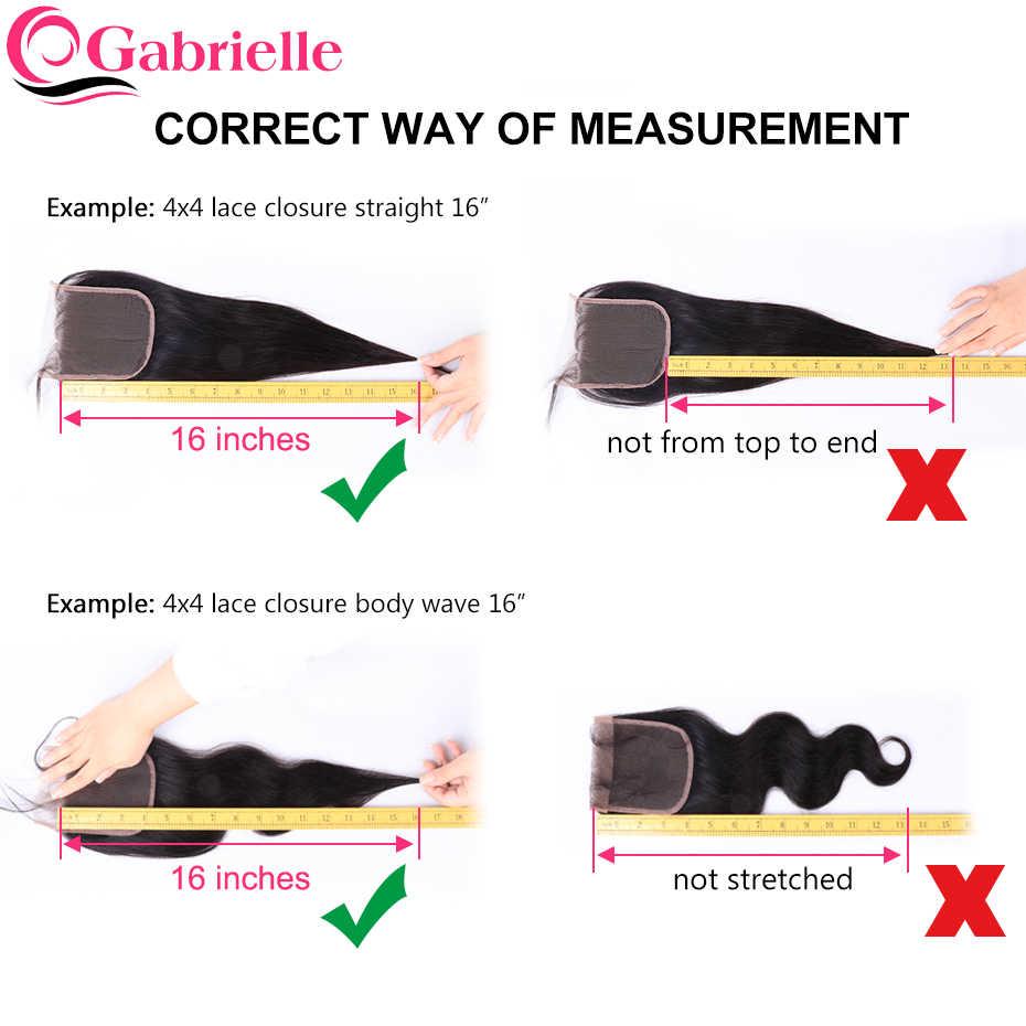 Gabrielle 13x4 fechamento frontal do laço onda profunda brasileira cor natural 100% não remy cabelo humano livre/meio/três parte frontal