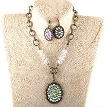 Модный Ювелирный Набор, четки, цепочка, стекло, кристалл, большая металлическая цепь, шикарный кулон, колье, ожерелье и серьги, набор