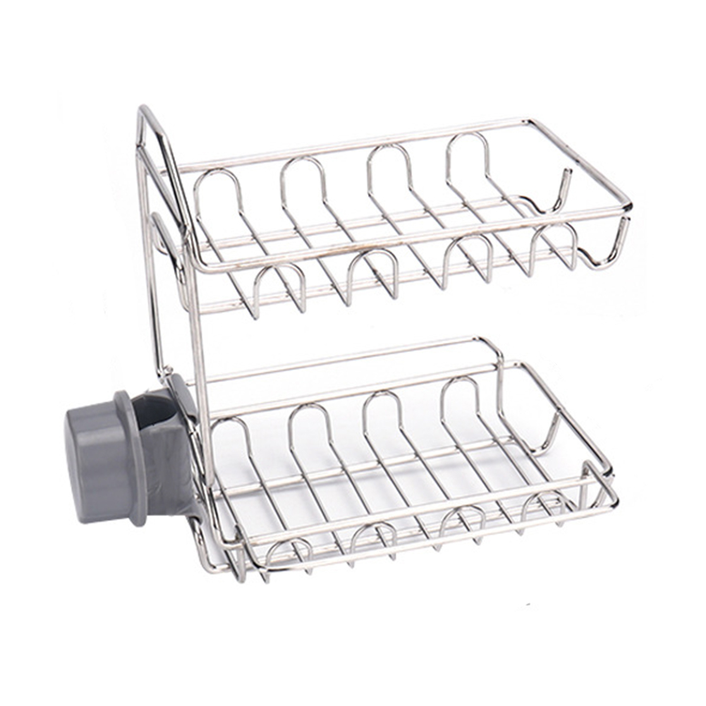 Sink Shower Accessories Faucet Rack Bathroom Kitchen Draining Drying Basket Storage Home Double Layer Hanging Stainless Steel