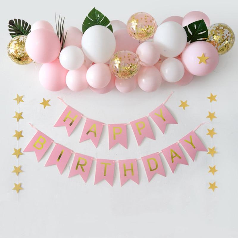 Baby Shower Pink Theme Girl Foil Balloon Banner Set Birthday Wedding Party Decor
