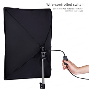 Image 3 - 50x70CM Photography Single Lamp Softbox Lighting Kits Camera Accessories E27 Base With 2pcs 135W photo Bulbs For Youtobe Video