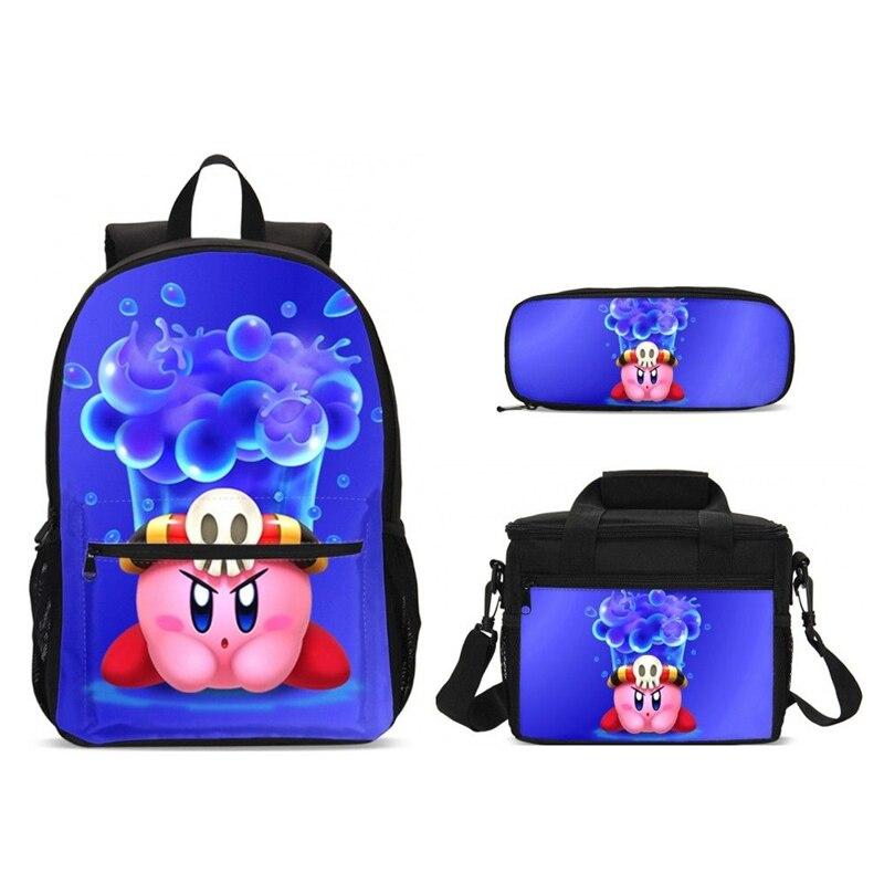 Filles sacs d'école ensemble mode dessin animé Kirby cartables enfants école sac à dos pour adolescents garçons nourriture Bookbag enfants Mochila Infantil