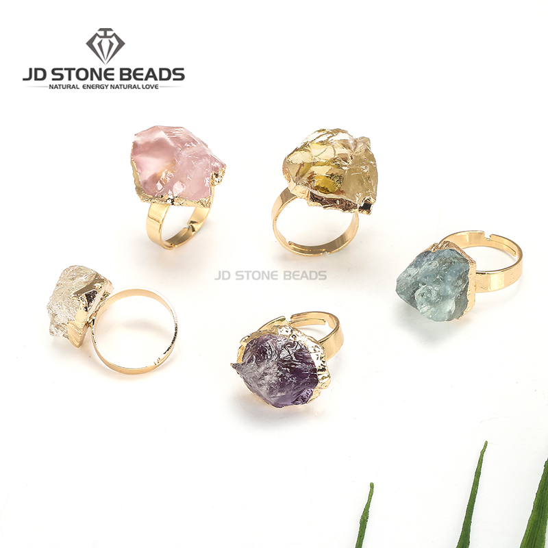 Gemstone Factory Natural Raw Gemstone Pink Crystal Amethyst Citrine Fluorite Resizable Ring Energy Jewelry For Women One Piece