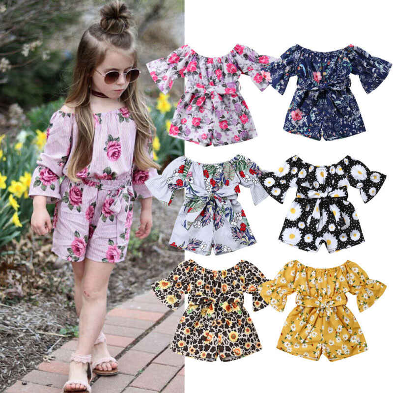 pudcoco Toddler Kids Baby Girls Sunflower Off Shoulder Rompers Jumpsuits Chirldren Playsuit Sunsuit Outfits Casual Summer 6M-4T