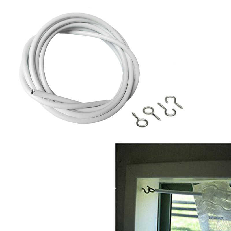 curtain hooks net hang 2m 3m 4m 5m curtain wire window cord cable string set with 5 fish eyes 5 hooks curtain accessories