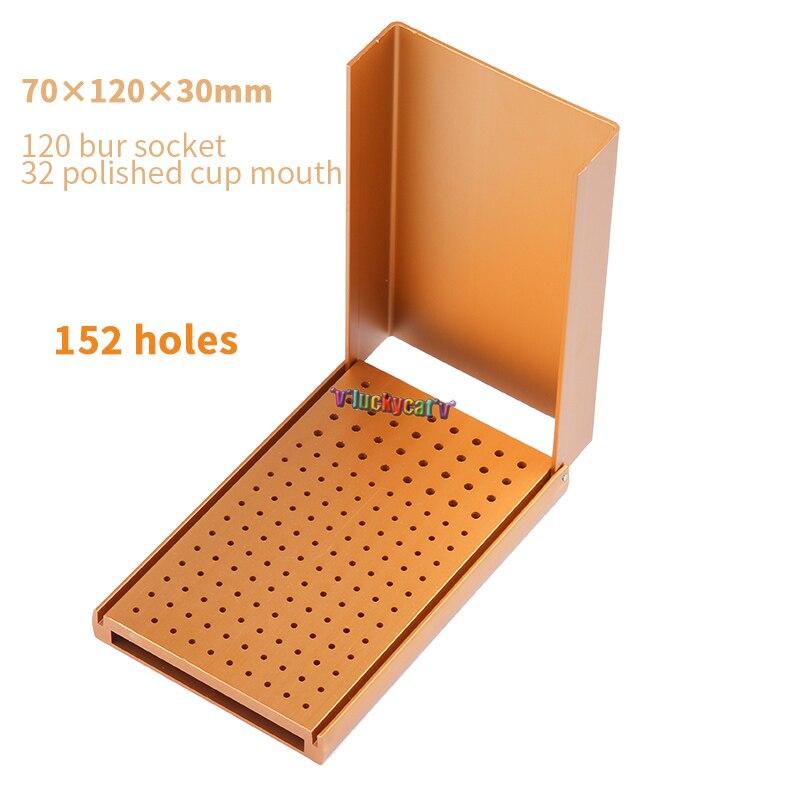 1PC Dental Burs Holder Autoclavable Polishing Brush Cup Block 152-hole Gold Burs Holder