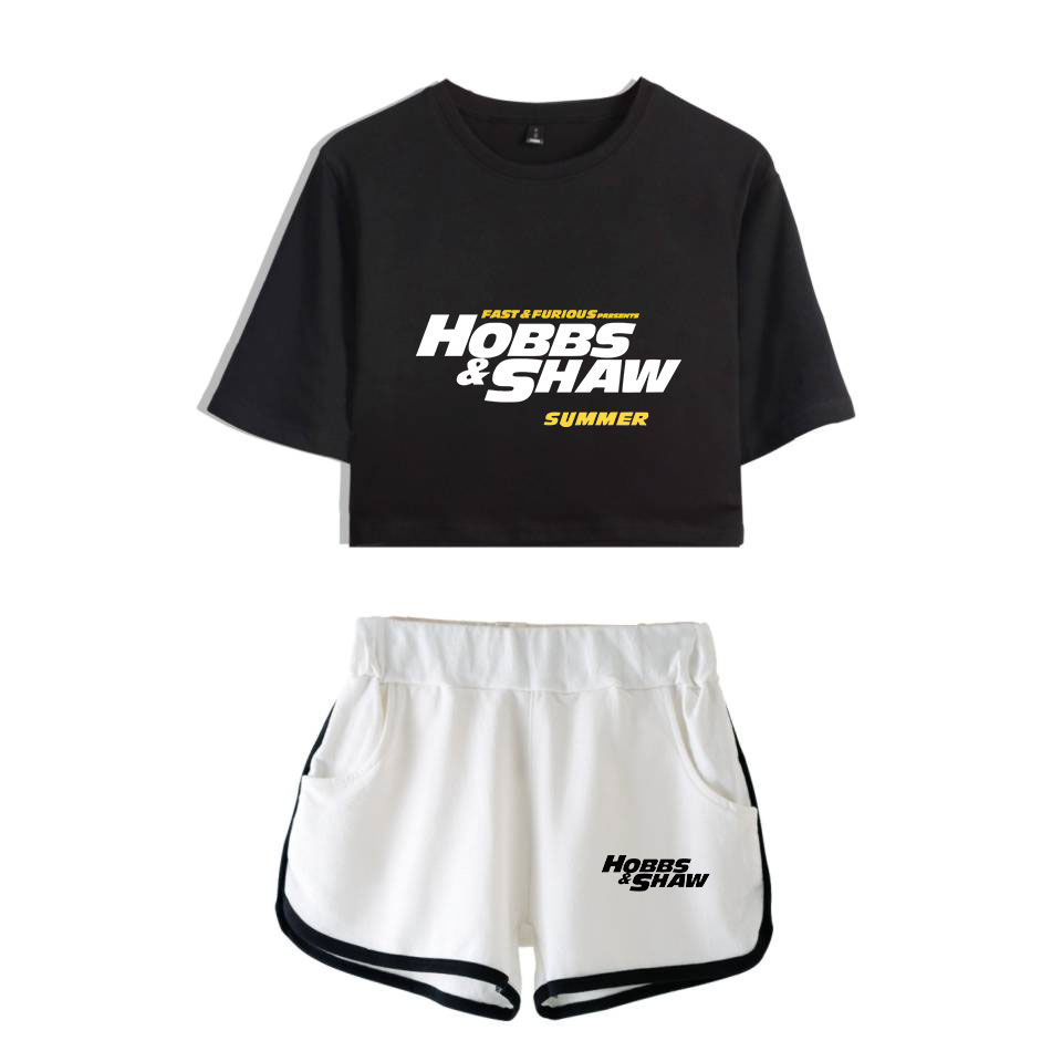 Hobbs And Shaw Dwayne Johnson Jason Statham 2019  New Print Women Two Piece Set Shorts+lovely T-shirt Hot Sale Clothes