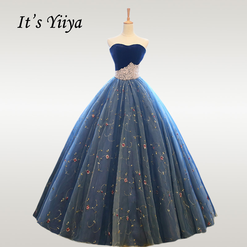It's YiiYa Wedding Dress Elegant Floral Strapless Beading Long Wedding Dresses Off Shoulder Plus Size Robe De Mariee CH074