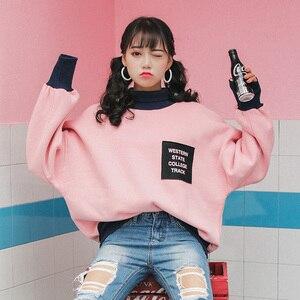 Женский Свободный свитшот Ulzzang, розовый толстый свитшот в Корейском стиле, в стиле преппи, зимний сезон