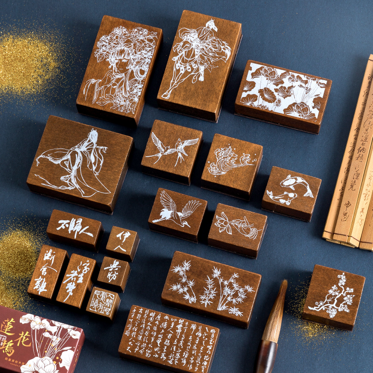 Retro Log Rubber Seal Crane Lucky Charm Swallow Fresh Plum Blossom Literatur Character Wood And Rubber Seal Log Rubber Stamp