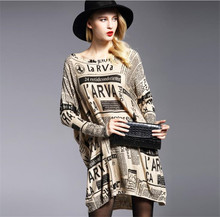 Fashion Autumn Oversize Knitted Sweaters Dress Women Pullovers Casual loose femme Comfortable Batwing Sleeve Print