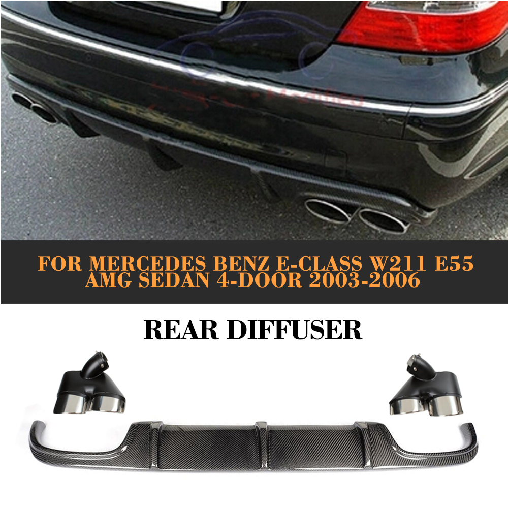 E Class Carbon Fiber rear lip diffuser for Mercedes Benz <font><b>W211</b></font> <font><b>E55</b></font> <font><b>AMG</b></font> Sedan 4 Door 2002-2006 image