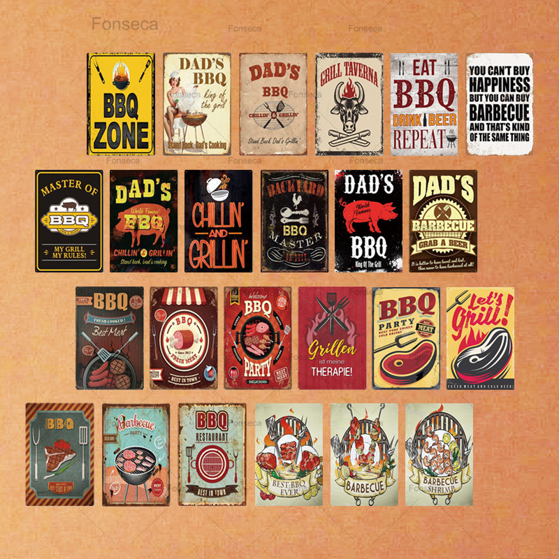 DAD'S BBQ Sign Metal Tin Sign Plaque Metal Wall Decor For Barbecue Bar Pub Kitchen Party Zone Vintage Metal Signs Iron Painting