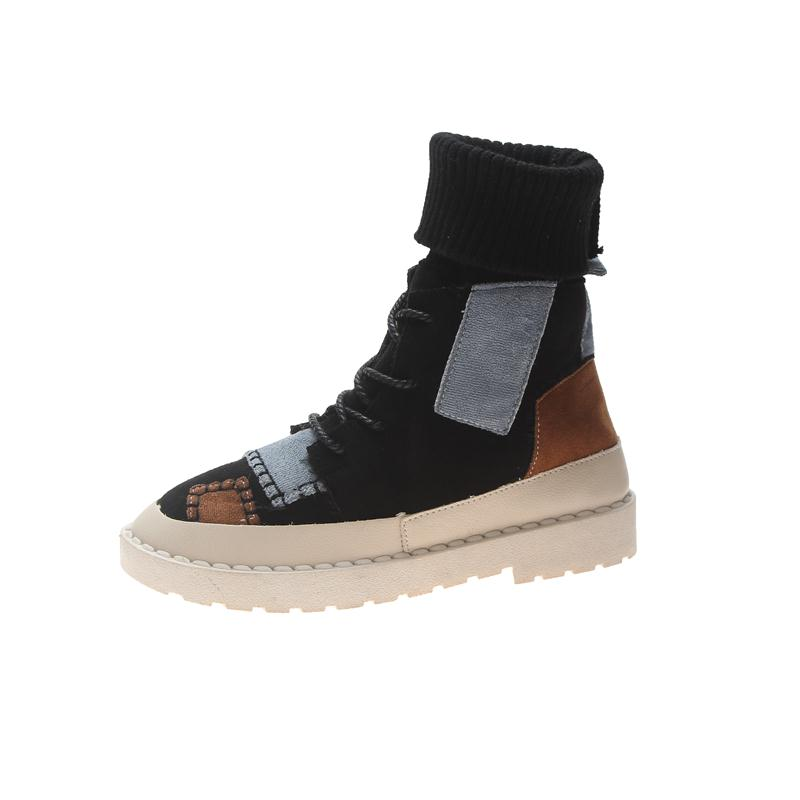 Ankle Boots For Women Snow Peas Shoes Fall Winter New Wild Retro Colorblock Patch Literary Socks High Top Cotton Comfortable Waterproof Boots Western
