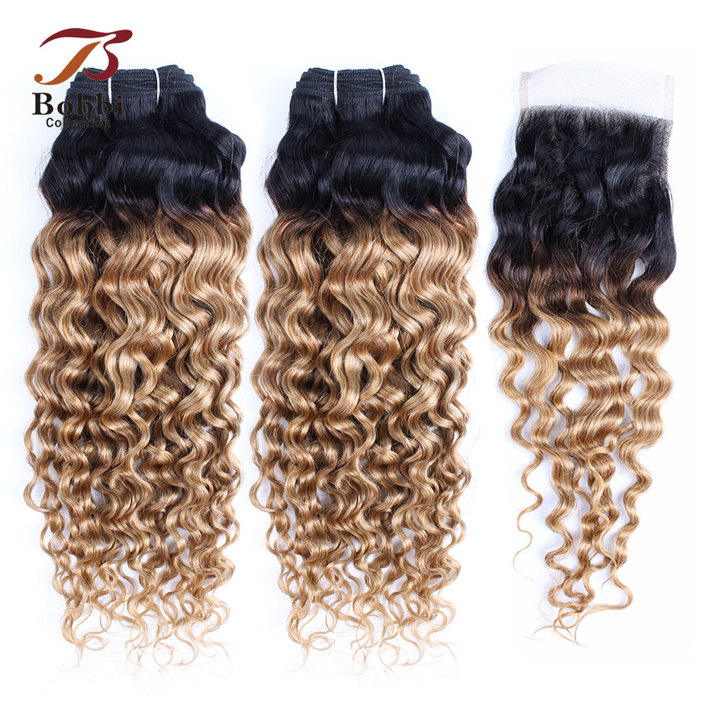 Bobbi Collection 1B 27 Dark Root Ombre Honey Blonde Bundles With Closure Water Wave Pre-Colored Brazilian Non Remy Human Hair
