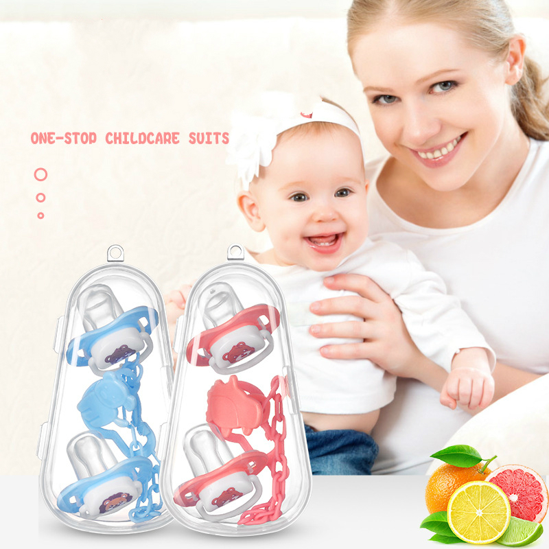 Baby Pacifier Set Silicone Nipple + Chain Combination Baby Sleeping Pacifier 2 Nipple 1 Chain 1 Dustproof Pacifier Storage Box