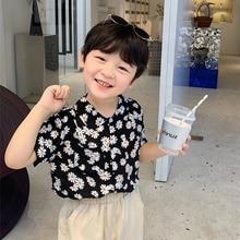 Summer 2021 boys daisy print short sleeve shirts korean style kids cotton casual thin Tops Clothes