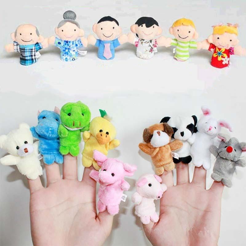 10PCS Cute Cartoon Biological Animal Finger Puppet Plush Toys Child Baby Favor Dolls Tell Story Props Boys Girls Finger Puppets