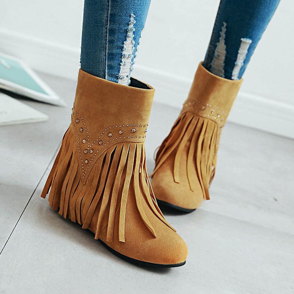 Winter Boots Women 2019 Fringe Low Heel