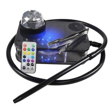 Cachimba portátil tipo Shisha, caja de acrílico para Narguile, Sheesha, Chicha, con luz LED Cachimbas, juego de cachimba para fumar