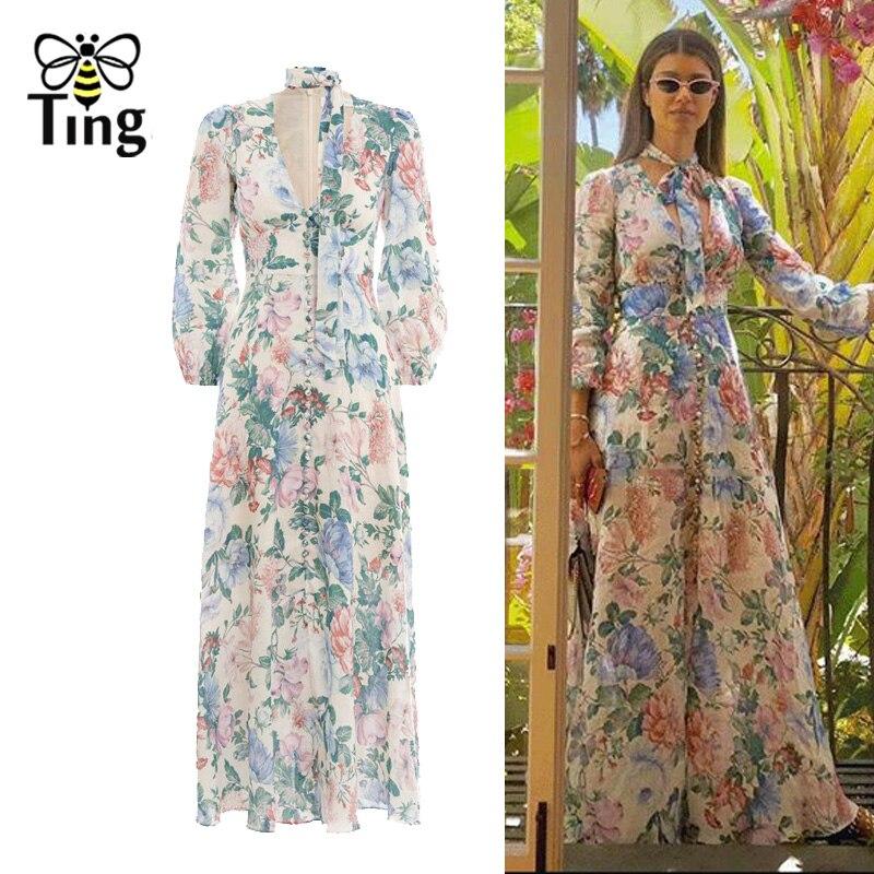 Tingfly Designer piste Style bleu Floral Maxi robes de soirée dame avant bouton décoratif Sexy Slip longue robe Boho Vestidos
