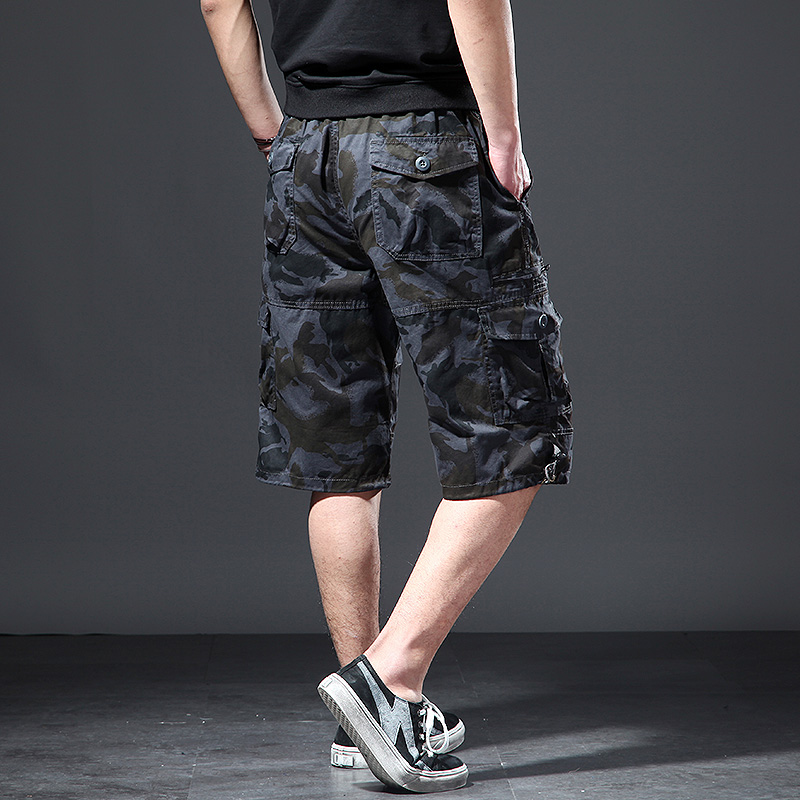 Plus Size Men Casual Shorts Loose Cotton Cargo Shorts Camo Thin With Pockets Fashion Streetwear Bermudas Mens Clothing XX60MS