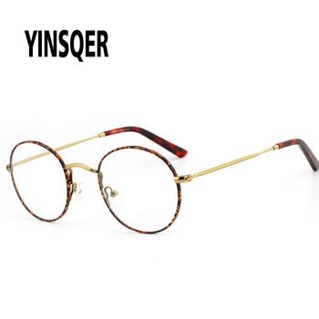 YINSQER 2020 metalowe okulary optyczne okrągłe damskie okulary ramki krótkowzroczność okulary jasne okulary na receptę damskie okulary ramki tanie i dobre opinie Unisex Stop CN (pochodzenie) Patchwork FRAMES Okulary akcesoria