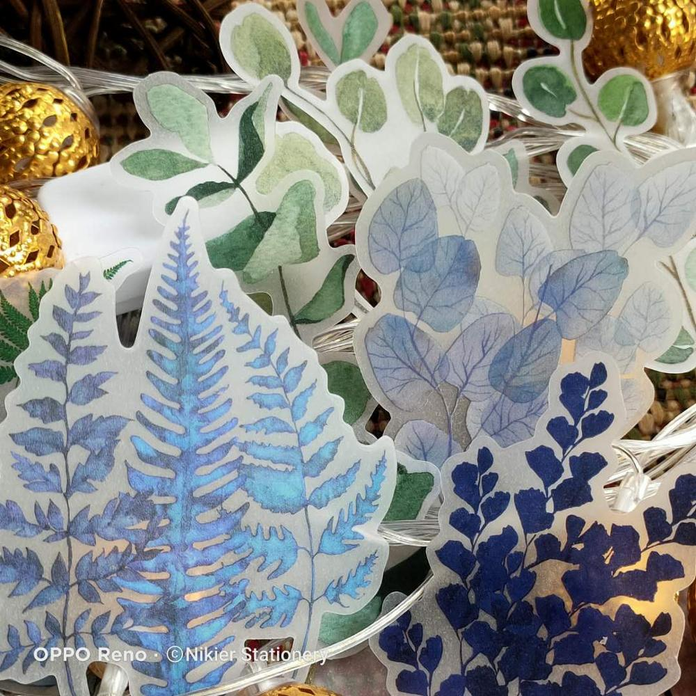 75 PCS Fresh Plant Illustrated Sticker Eucalyptus Fern Frangrance Dry Leaf Sulfuric Acid Journal DIY Scrapbooking Label Stickers